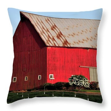 Hwy 47 Red Barn 21x21 Throw Pillow