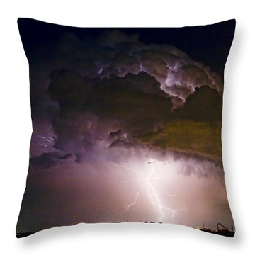 Hwy 52 - 08-15-2010 Lightning Storm Image 42 Throw Pillow by James BO  Insogna
