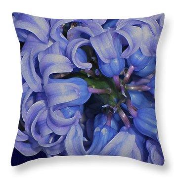 Hyacinth Curls Throw Pillow by Lynda Lehmann
