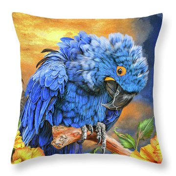 Hyacinth Macaw Throw Pillow by Carol Cavalaris