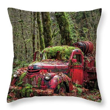 Hybrid Fire Truck Throw Pillow