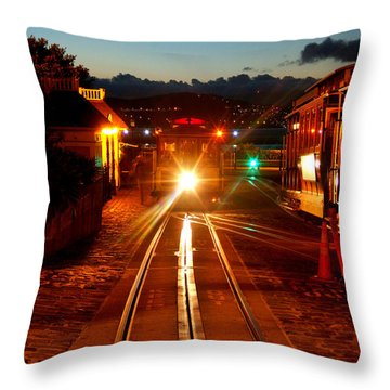 Hyde Street Cable Car Twilight Throw Pillow by Wernher Krutein
