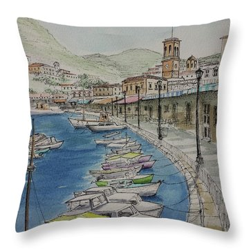 Hydra Clock Tower Throw Pillow