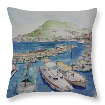 Hydra Harbor Throw Pillow