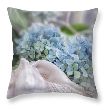 Hydrangeas By The Sea Throw Pillow