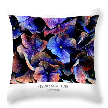 Throw Pillow featuring the digital art Hydranga Hues by Julian Perry