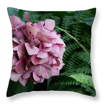 Hydranga In Pink With The Fern Throw Pillow by Jacqueline Russell