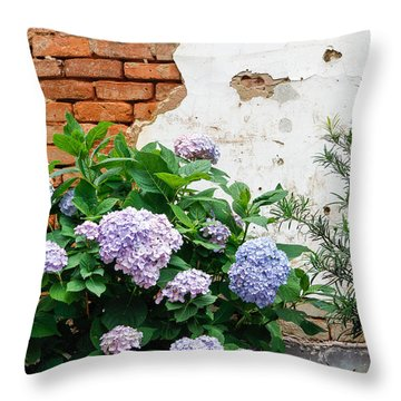 Hydrangea And Bricks Throw Pillow