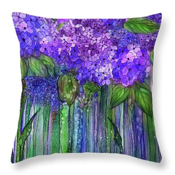 Throw Pillow featuring the mixed media Hydrangea Bloomies 1 - Purple by Carol Cavalaris