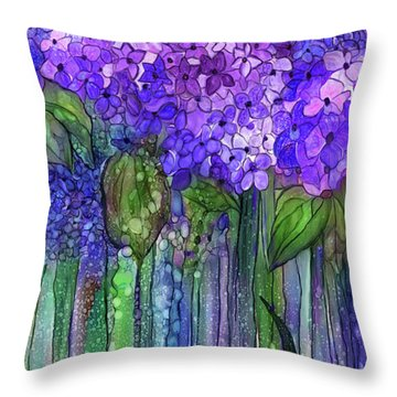 Throw Pillow featuring the mixed media Hydrangea Bloomies 2 - Purple by Carol Cavalaris