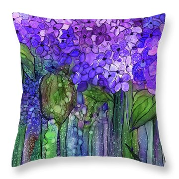 Throw Pillow featuring the mixed media Hydrangea Bloomies 3 - Purple by Carol Cavalaris