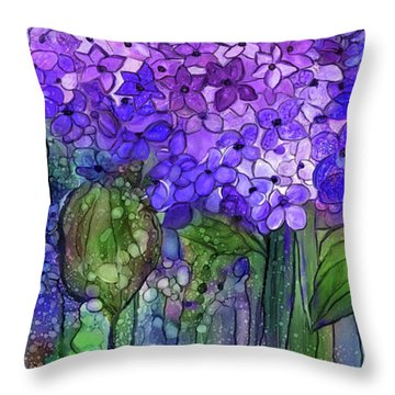 Throw Pillow featuring the mixed media Hydrangea Bloomies 4 - Purple by Carol Cavalaris