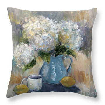 Throw Pillow featuring the painting Hydrangea Morning by Jennifer Beaudet
