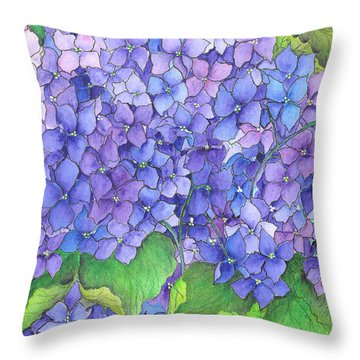 Hydrangea Purple Blue Throw Pillow
