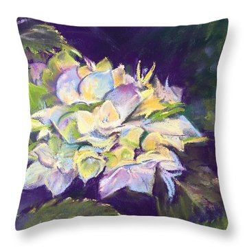 Hydrangea Throw Pillow by Rebecca Matthews