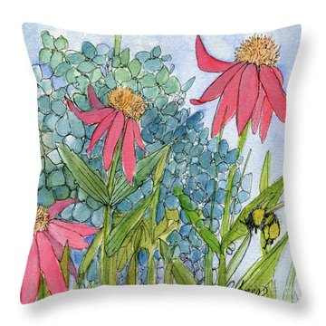 Hydrangea With Bee Throw Pillow