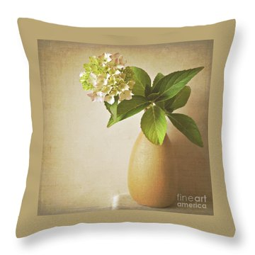 Hydrangea With Leaves Throw Pillow