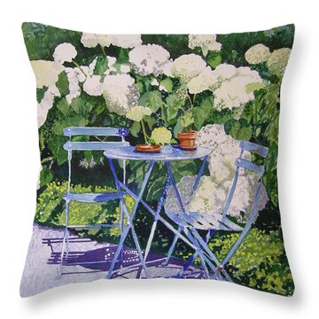 Hydrangeas At Angele Throw Pillow by Gail Chandler