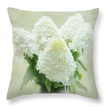 Hydrangeas Throw Pillow by Geraldine Alexander