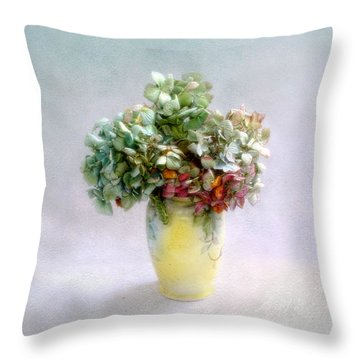 Hydrangeas In Autumn Still Life Throw Pillow by Louise Kumpf