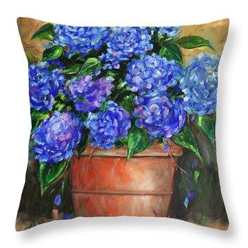 Hydrangeas In Pot Throw Pillow