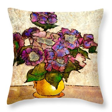Hydrangeas In Yellow Jug Throw Pillow