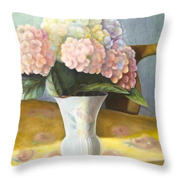 Throw Pillow featuring the painting Hydrangeas by Marlene Book
