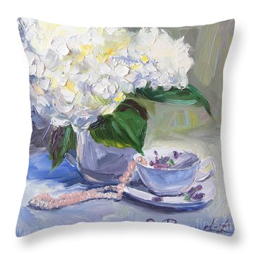 Throw Pillow featuring the painting Hydrangeas With Pearls  by Jennifer Beaudet