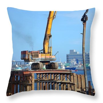 Hydraulic Pile Driver In Action Throw Pillow