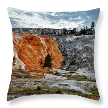 Hymen Terrace At Mammoth Hot Springs - Yellowstone National Park Wy Throw Pillow by Christine Till