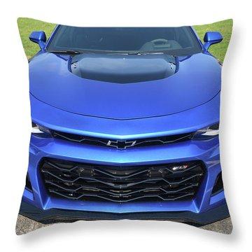 Hyper Blue Metallic 2017 Chevrolet Camaro Zl1 Throw Pillow