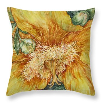 Hypericum Plant Throw Pillow by Kim Tran