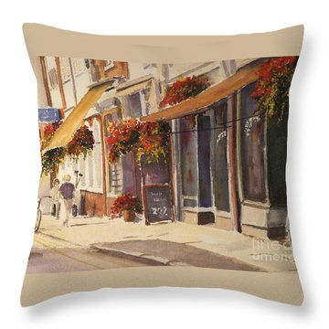 Throw Pillow featuring the painting Hythe High Street by Beatrice Cloake