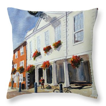 Throw Pillow featuring the painting Hythe Town Hall by Beatrice Cloake