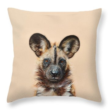 Throw Pillow featuring the drawing I Am A Wild Thing - African Painted Dog by Elena Kolotusha