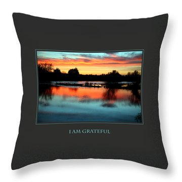 I Am Grateful Throw Pillow by Donna Corless