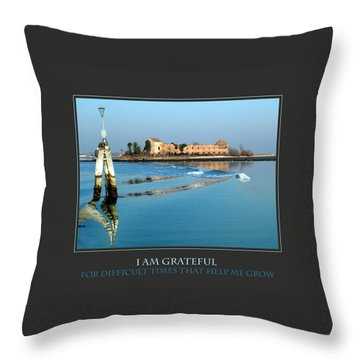 I Am Grateful For Difficult Times Throw Pillow by Donna Corless