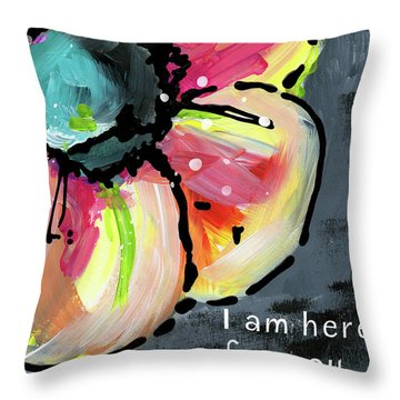 I Am Here For You By Text- Art By Linda Woods Throw Pillow