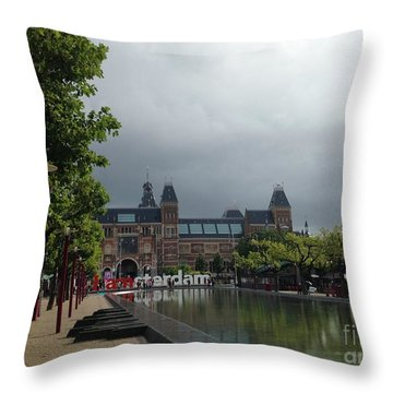 Throw Pillow featuring the photograph I Amsterdam by Therese Alcorn