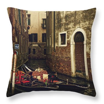 Two Empty Gondolas Surrounded By Vintage Buildings In Venice, Italy Throw Pillow