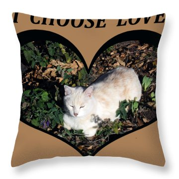 I Chose Love With A Cat Enjoying Catnip In A Garden Throw Pillow