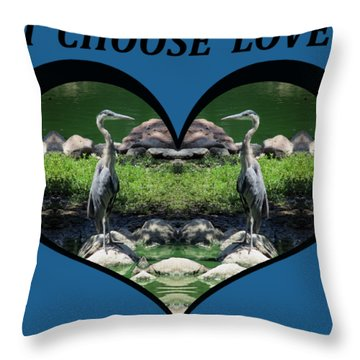 I Chose Love With A Heart Framing Blue Herons Throw Pillow