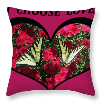I Chose Love With A Monarch Butterfly In A Heart Throw Pillow