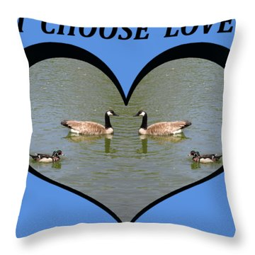 I Choose Love With A Spoonbill Duck And Geese On A Pond In A Heart Throw Pillow