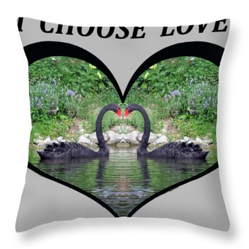 I Chose Love With Black Swans Forming A Heart Throw Pillow