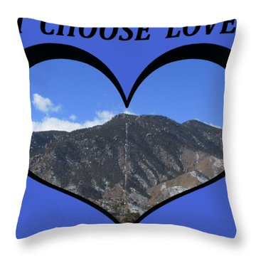 I Choose Love With The Manitou Springs Incline In A Heart Throw Pillow