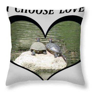 I Chose Love With Two Turtles Snuggling Throw Pillow