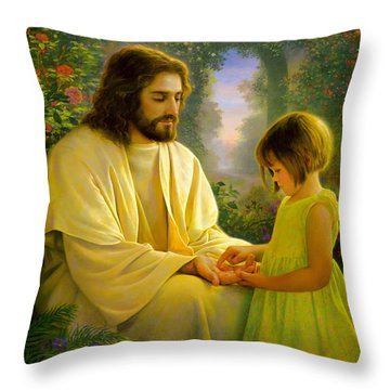 Throw Pillow featuring the painting I Feel My Savior's Love by Greg Olsen