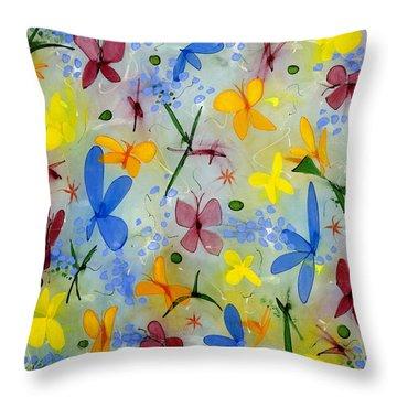 I Flit Through Life Three Throw Pillow by Lynne Taetzsch