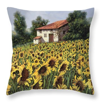 I Girasoli Nel Campo Throw Pillow by Guido Borelli